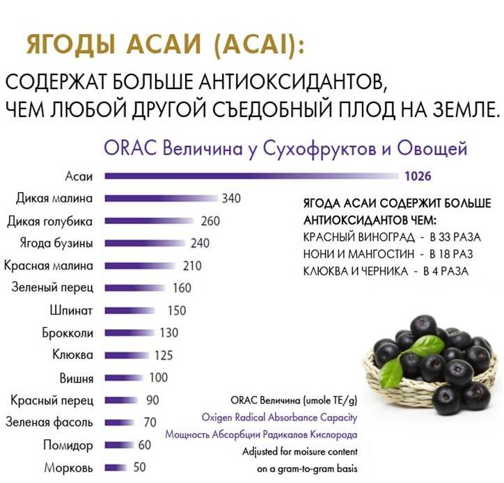 Сравнение ягод асаи с другими съедобными плодами по содержанию антиоксидантов