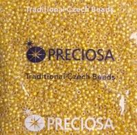 """Бисер чешский, """"PRECIOSA"""" №10 (арт.87019), жёлтый, """"огонёк"""", с серебряным отверстием, МАТОВЫЙ, оригинальная упаковка 50г."""