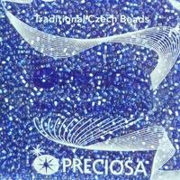 """Бисер чешский """"PRECIOSA"""" №10 (арт.37030) прозрачный с серебряным квадратным отверстием, сиренево-синий, оригинальная упаковка 50г."""