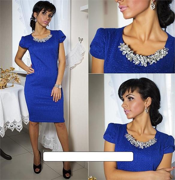 Украшение на шею к синему платью