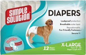Гигиенические подгузники для собак крупных пород SIMPLE SOLUTION  (Disposable Diapers X-Large) 12 шт. Размер XL