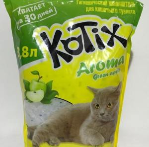 Силикагелевый наполнитель для туалета Kotix Green Apple (Яблоко) 3,8 L (1,5 кг)