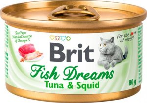 Консерва для кошек Brit Fish Dreams (Брит Фиш Дримс) с тунцом и кальмаром, 80 г