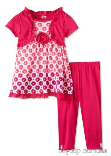 костюм Young Hearts Girls 2-6X 2 Knit Piece Pullover with Dots and Pant