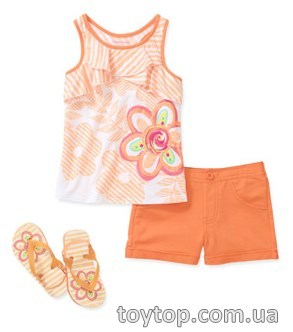 Комплект Healthtex Baby Girls' 3 Piece Ruffle Graphic Tank, Short and Flip Flop Set