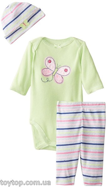 Набор Gerber Baby-Girls Newborn 3 Piece Bodysuit Cap and Legging Set