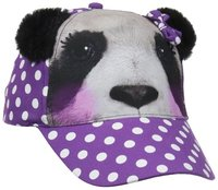 Girls' Polka Dot Panda Photo Real Baseball Cap