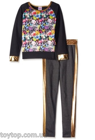 Костюм Liquid Gold Big Girls' French Terry Butterfly Print Pullover and Denim Knit Pant