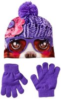 Accessories 22 Big Girls' Photo Real Beanie and Glove Set Flower Doggy