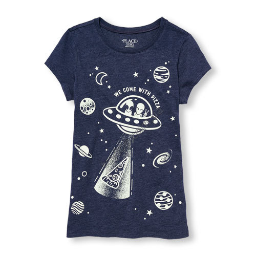 Футболка светящаяся Girls Short Sleeve 'We Come With Pizza' Alien Glow-In-The-Dark Graphic Tee