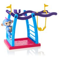 Интерактивная обезьянка - Fingerlings Playset - Monkey Bar Playground + Liv the Baby Monkey (Blue with Pink Hair)
