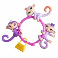 Мини обезьянки и браслет - WowWee Fingerlings Minis-Series 1-5 Piece Banana Blister 3 Figures Plus Bonus Bracelet and Charm