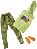 Одежда для Кена -Barbie Ken Doll Clothes with Green Hoodie, Camo Joggers & Sandals