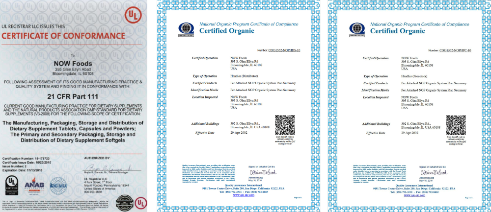 Certificate of conformance new food
