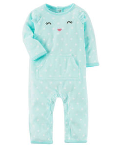 Пижама флисовая Teal Dot Cat Carters