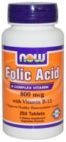 NOW Folic Acid, 250 табл