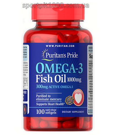 Puritan's Pride        OMEGA-3 Fish oil 1000 mg.      100 softgels