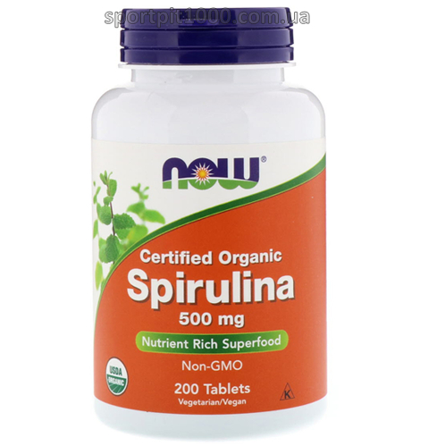 NOW         Certified Organic SPIRULINA 500 mg       200 tab.